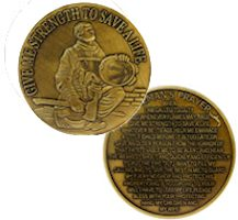 Firefighter in Prayer Coin Bronze
