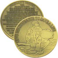 Firefighter in Prayer Coin Bronze