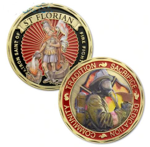 Firefighters St Florian Cross Visor Clip Gold Fireman Protect Me