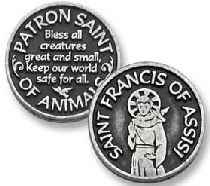 St Francis Saint of animalsCoins pewter