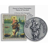 Saint Christopher Protect Us Coin & Prayer Card