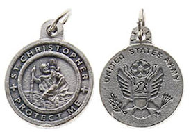 St. Christopher Army Medal Charm Pewter