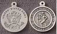 St. Christopher Pewter Army Medal