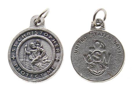 St. Christopher Pewter Navy Medal Charm