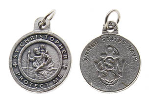 St. Christopher Pewter Navy Medal Charm