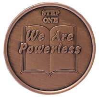 Step One We Are Powerless, AA Recovery Copper Coin