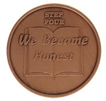 Step Four We Became Honest, AA Recovery Copper Coin