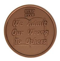 Step Five We Admit Our Wrong to Others, AA Recovery Copper Coin