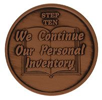 Step Ten We Continue Our Personal Inventory, AA Recovery Copper Coin