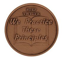 Step Twelve We Practice These Principles, AA Recovery Copper Coin