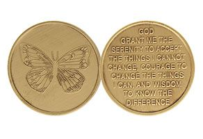 Butterfly Serenity Prayer Bronze Coin
