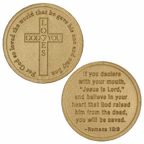 Coins God Loves You, Gold Plastic (Pkg of 50)