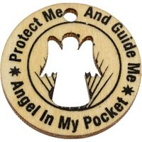 Wood Coins - Angel in My Pocket Protect Me -  Pack of 10