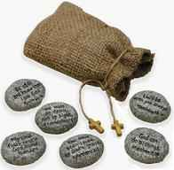 Bible Faith Stones - Natural Rocks in cloth bag