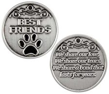 Best Friends Pet Paw Print Pocket Coin Token