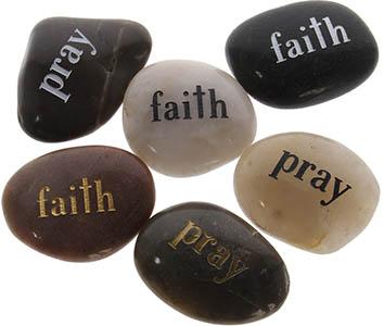 Faith Pray Worry Stones Natural 2 Sided
