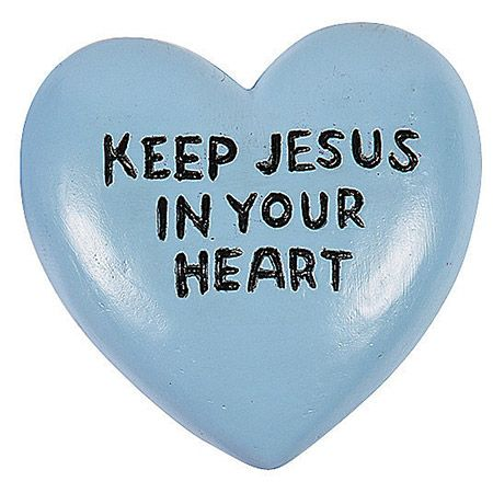 Keep Jesus in your heart Blue Worry Stone