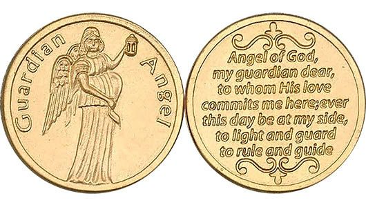 Angel of God Coin Protect Me Gold Tone