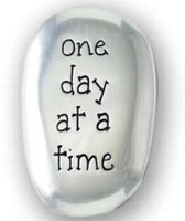One Day At a Time Worry Pocket Stone Pewter
