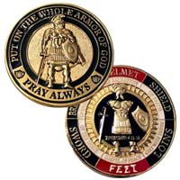 Armor of God Pray Always Challenge Coin