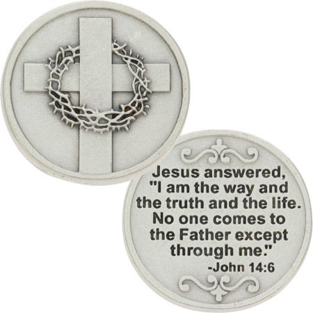 Cross with Crown of Thorns Silver Coin, John 14:6