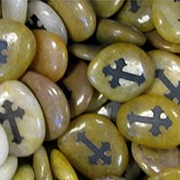 Cross Engraved Natural Worry Stones
