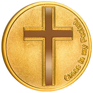 Cross In My Pocket Coin Deluxe 22Kt Gold Plated