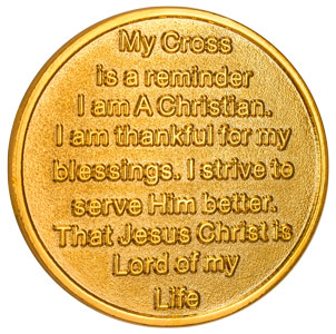 Cross In My Pocket Coin 22kt Gold Plated-reverse