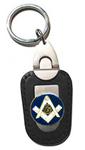Masonic Deluxe Leather Keychain