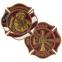 Firefighter Patriotic Gold Deluxe Challenge Coin