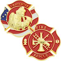 Firefighter Patriotic Gold Challenge Coin