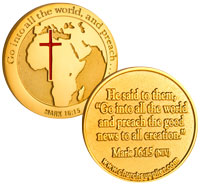 foreign mission gold coin Africa with cross