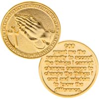 Serenity Prayer Gold Coin, Praying Hands