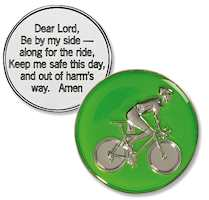 Bike Rider Prayer Coin with Color, Cycling
