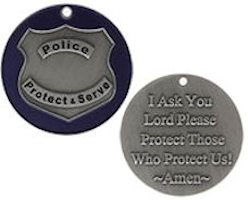 Police Blessing Coin on Shield, Blue