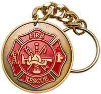 Fire Figher Prayer Key Chain Gold
