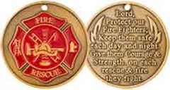 FireFighter Prayer Coin Maltese Cross Deluxe