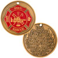 FireFighter Prayer Coin Maltese Cross Deluxe