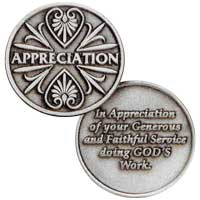 Volunteer appreciation coins pewter