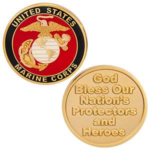 USA Marines God Bless Protectors Coin