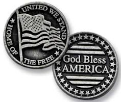 God Bless America Coin with flag Token