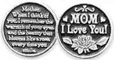 Mom I Love You Pewter Coins