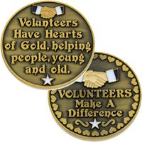 Volunteers Make a Difference Coin Gold Thank You
