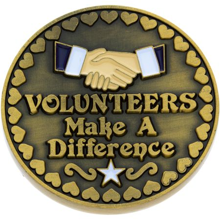Thank You Volunteers Make a Difference Coin Gold