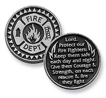 Fire Department Prayer Coin FireFighters