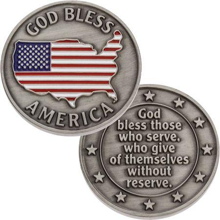 God Bless America Veterans Coin USA Flag