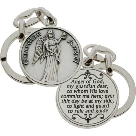 Guardian Angel Pewter Key Chain Round