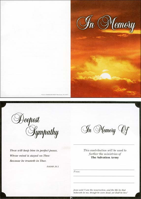 In Memory  Acknowledgement Card