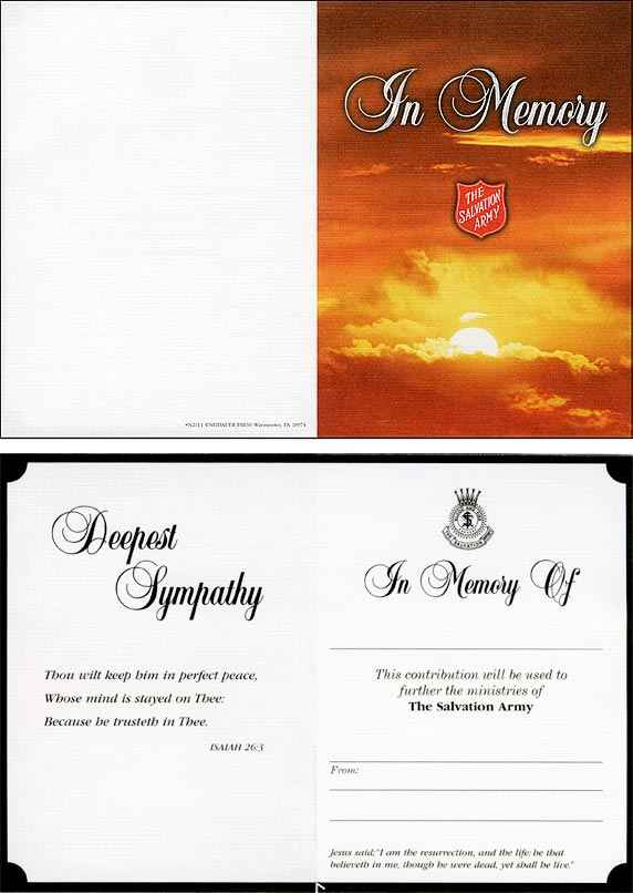 The Salvation Army In Memory Acknowledgement Card