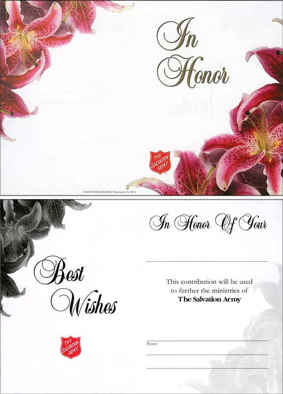 2113 The Salvation Army In Honor Acknowledgement Card